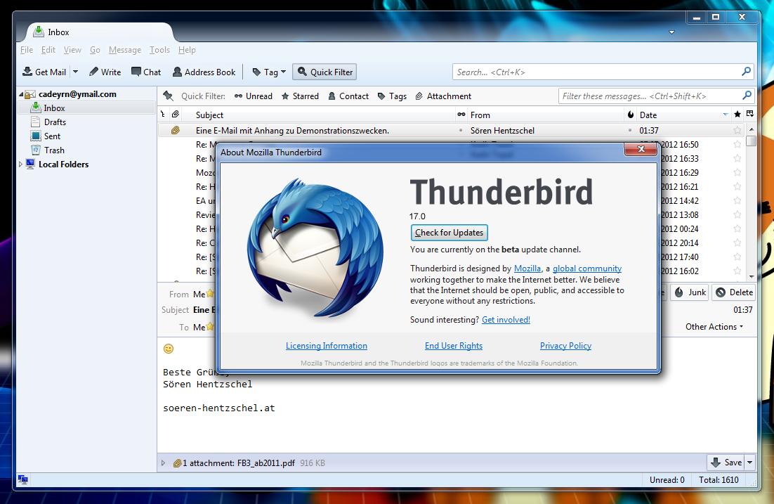 Thunderbird 52.0.1