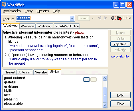 WordWeb 7.1 Free Dictionary + Thesaurus + Word Finder