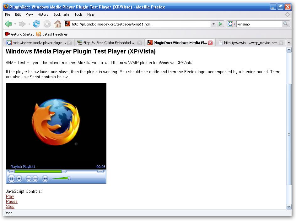 Windows Media Player Firefox Plugin  1.0.0.8