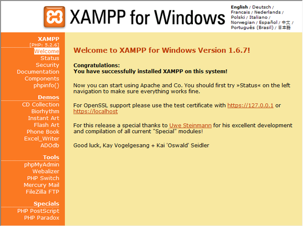 XAMPP 1.8.2 Server for Windows, Mac, Linux