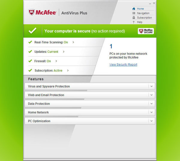 McAfee AntiVirus Plus - Program Screenshots