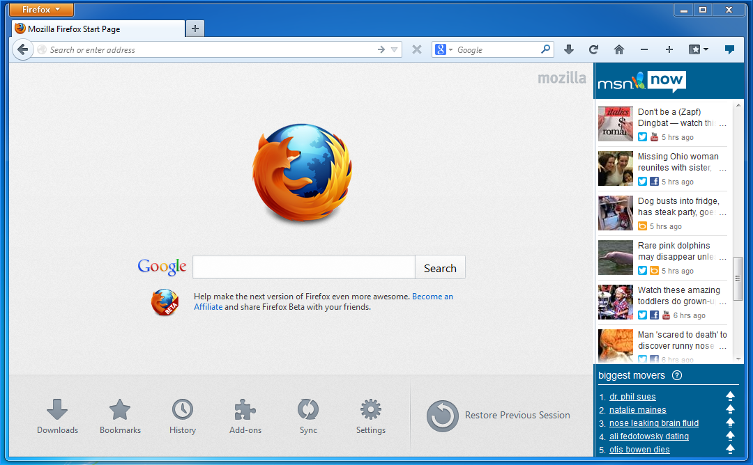 the new Firefox Quantum 57.0 for Windows, Linux and Mac