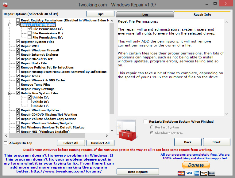 Windows Repair 2.0.1 All In One 2013